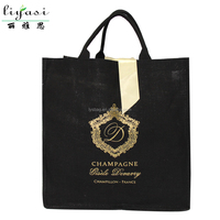 Wholesale customized black shopping gift jute tote bag for promotion