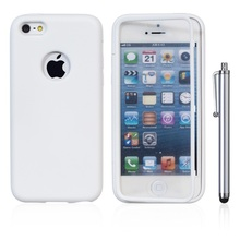 White TPU Wrap Up Rubber Cover Case For iPhone 5C Soft TPU Cover Case