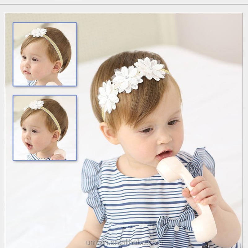 New Baby Girl Elegant Lace Flowers Elastic Headband Infant Headwear HB107