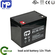 12V 75AH Maintenance free agm deep cycle lead acid battery for solar and UPS