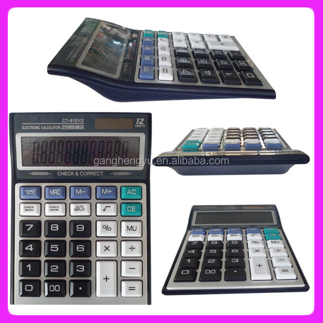 12 digit Double power supply office desktop solar calculator
