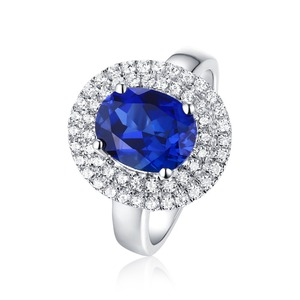 Online jewelry womens wholesale color blue gemstone silver rings 925 engagement ring