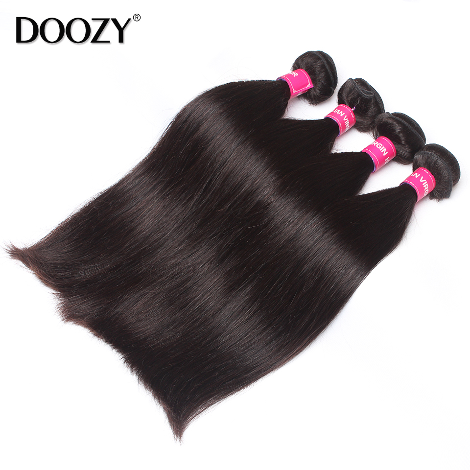 Double weft natural color unprocessed raw virgin brazilian straight hair