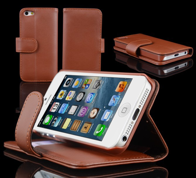 Wholesale Online - Brown Wallet ID Credit Card KickStand Flip PU Leather Purse Case Back Cover for iphone 5 5C 5S