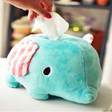 Wholesale Soft Stuffed Elephent shape Tissue Case cover Plush Tissue Box Cover