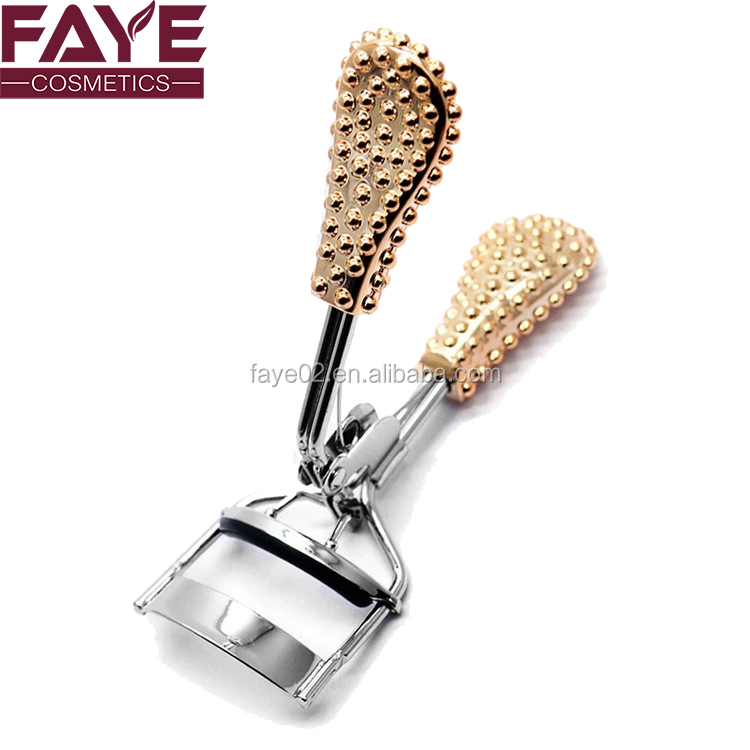 Simple style portable gold color plastic handle small eyelash curler