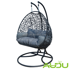 hot sale black color rattan swing chair double hanging chair
