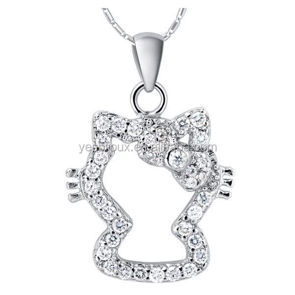 hello kitty white gold cute girls necklace