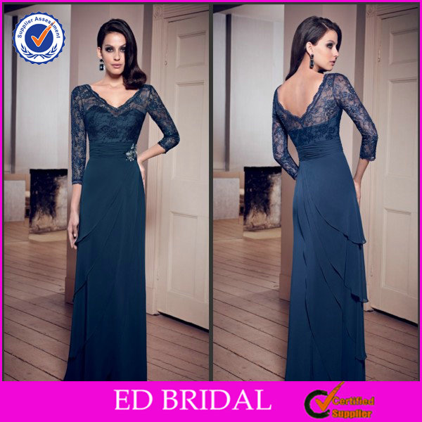 2014 Tall Mother Of The Bride Lace Dress Navy Blue