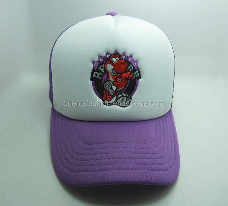 laker purple cartoon trucker hats with embroidery logo