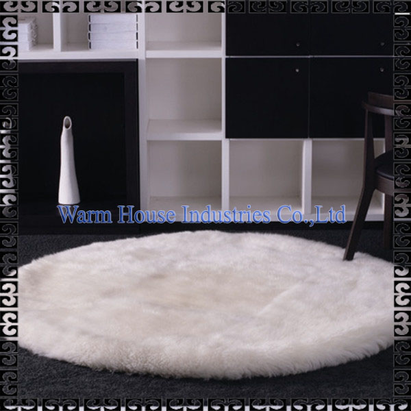Washable Eco-friendly Wholesale Circular New Zealand Sheepskin Rug for Home Decorative