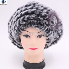 Women knitted real rex rabbit fur warm winter beret black frost hat with a flower decoration TD1757