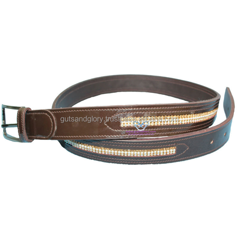 Diamante Patent Leather Belt Brown 35 MM Width