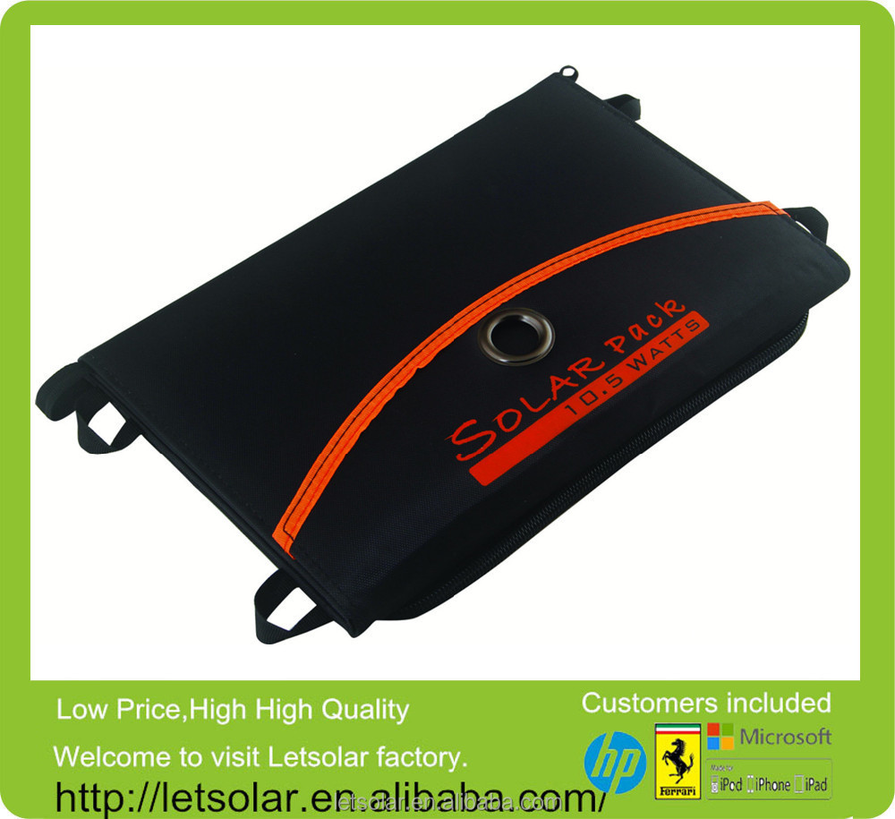 2014 new product 10.5W solar panel pack solar power charger bag