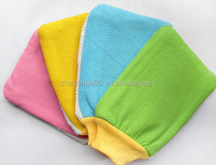 Soap custom bath knit gloves soft cotton inner