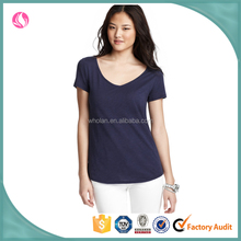 Blank V neck beautiful girl fitted plain casual t shirt