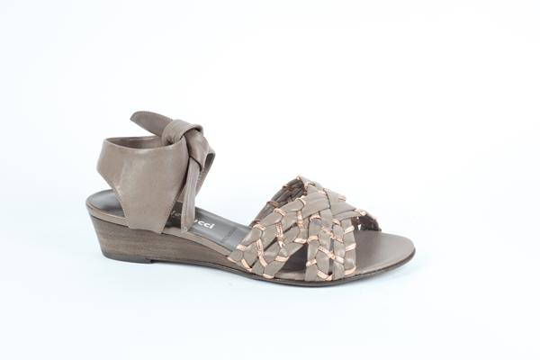 wedge sandal made in Italy genuine leather taupe and pink