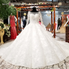 LS81214 ball gown wedding dress with long sleeves elegant simple bride wedding dress white 2018