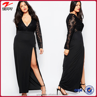 Black lace sleeve Long lace evening dress for fat women