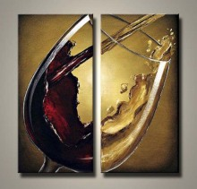 Unique design red wine group oil painting