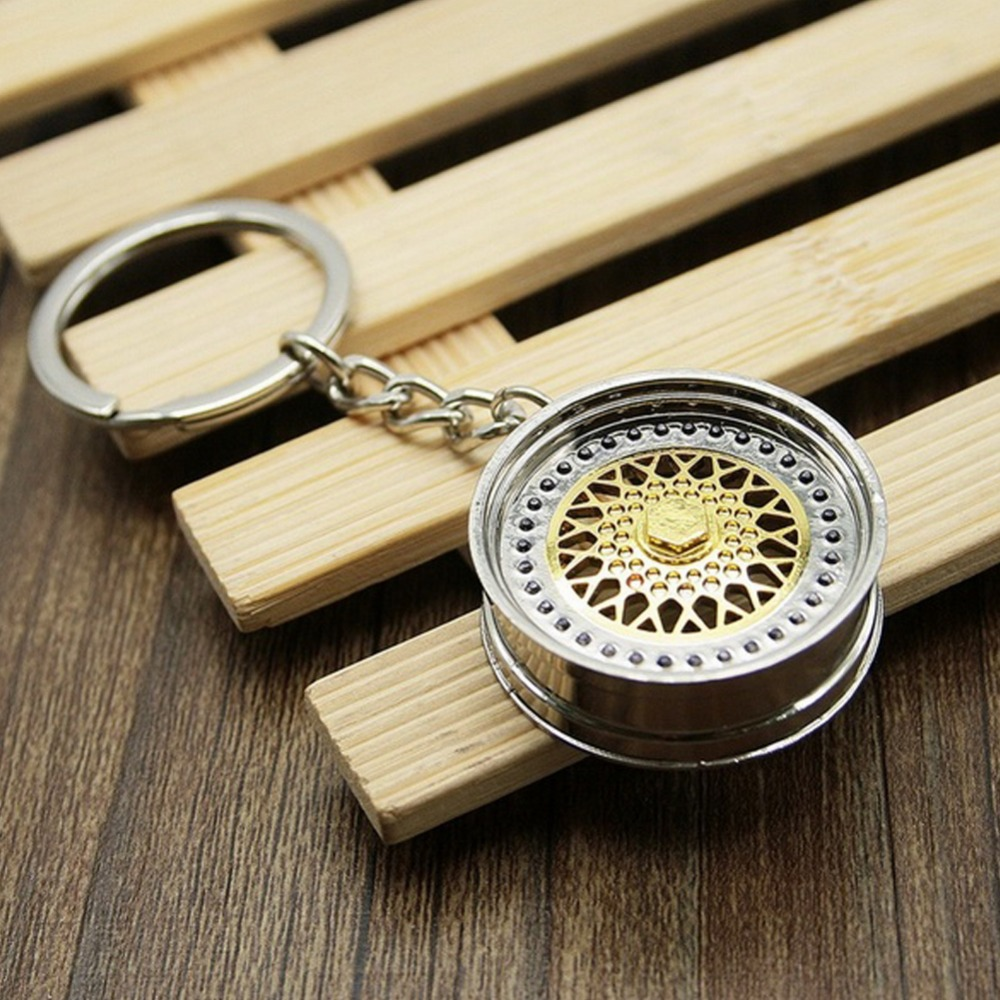 Fashion Key ring 3D Miniature BBS Wheel Rim Model Keychain Popular Creative Car Auto Metal Mini Wheel Rim Tyre Key Chain