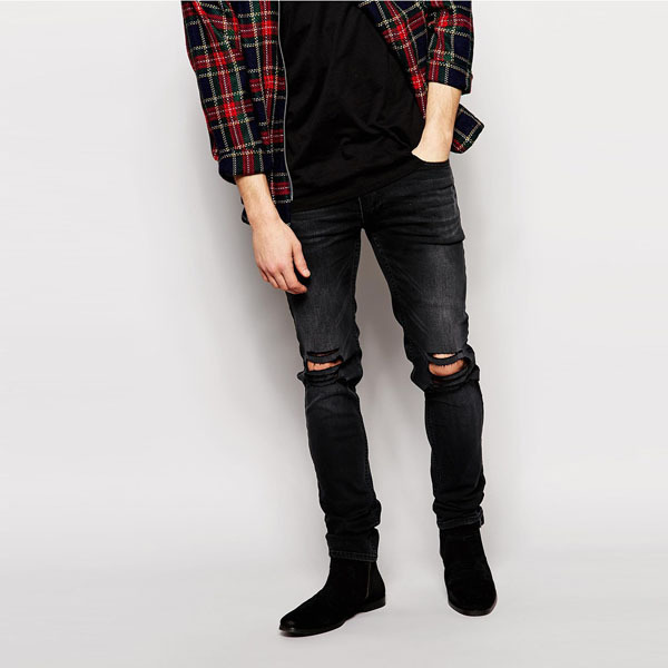 Mens Black Ripped Skinny Jeans