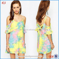 Best selling tie-dye cold shoulder western tunic dress with lace embroidery fashion girls dress