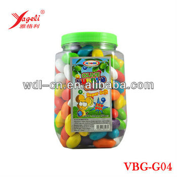 Hot Sell Colorful 9.9kg Olive Shaped Bubble Gum Balls In Jar VBG-G04