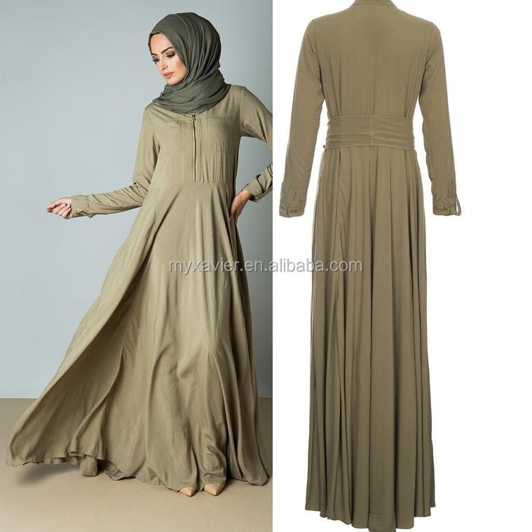 New fashion dubai abaya full flare islamic abaya with zip detail on the front and detachable belt muslim women hijab and abaya