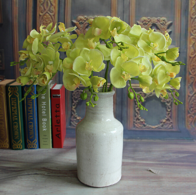 GNW green cymbidium bulk silk orchids import china fabric artificial flowers for weddings