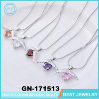 Pretty Fashion Sterling Silver White Gold Diamond Angel Wings Pendant Necklace