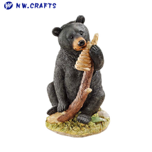 Wildlife small resin black bear cub statue zoo animal sculpture figurine for decor