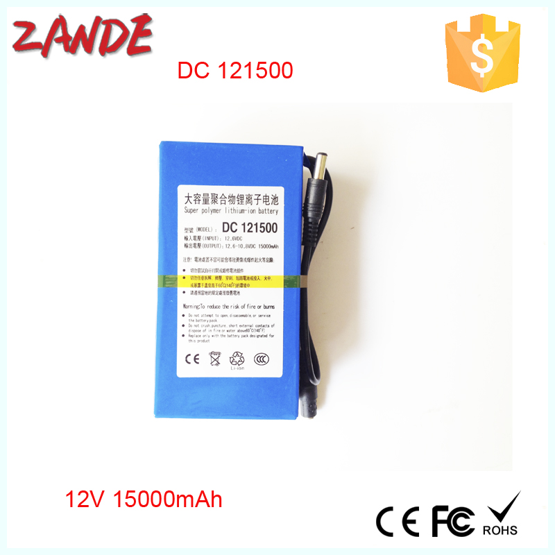 Large power DC 12V Portable 15000mAh Li-ion Rechargeable Battery for CCTV System,LED strips