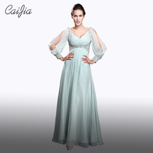 Caijia Deep V Neck Empire Fashion chiffon Sexy Mother Of The Bride Dresses