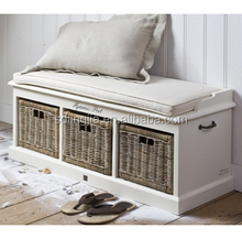 Comfortable Hand-woven Solid Wood Bathroom Modern Shoe Cabinet