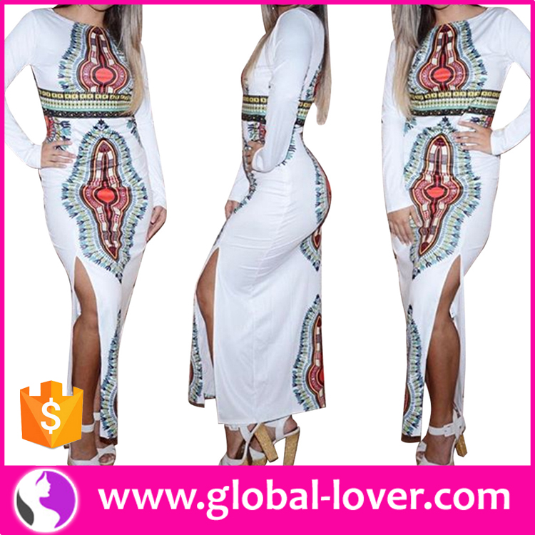 African party dress side split long sleeve maxi dresses dashiki african dress patterns