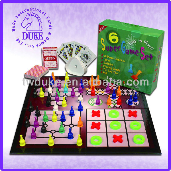 6 in 1 multiple board game set with playing cards, chess set