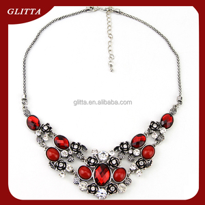 Glitta Wholesale fashion ruby statement necklace,vintage artificial ruby necklace,cheap clavicle neckalce GL15589
