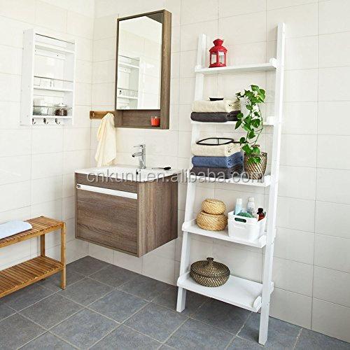 Modern Ladder Bathroom Shelf Made Of Wood