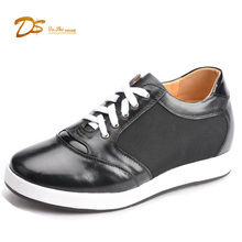 comfortable stylish Half Elevator Insole genuine leather casuel sneaker shoes for Men