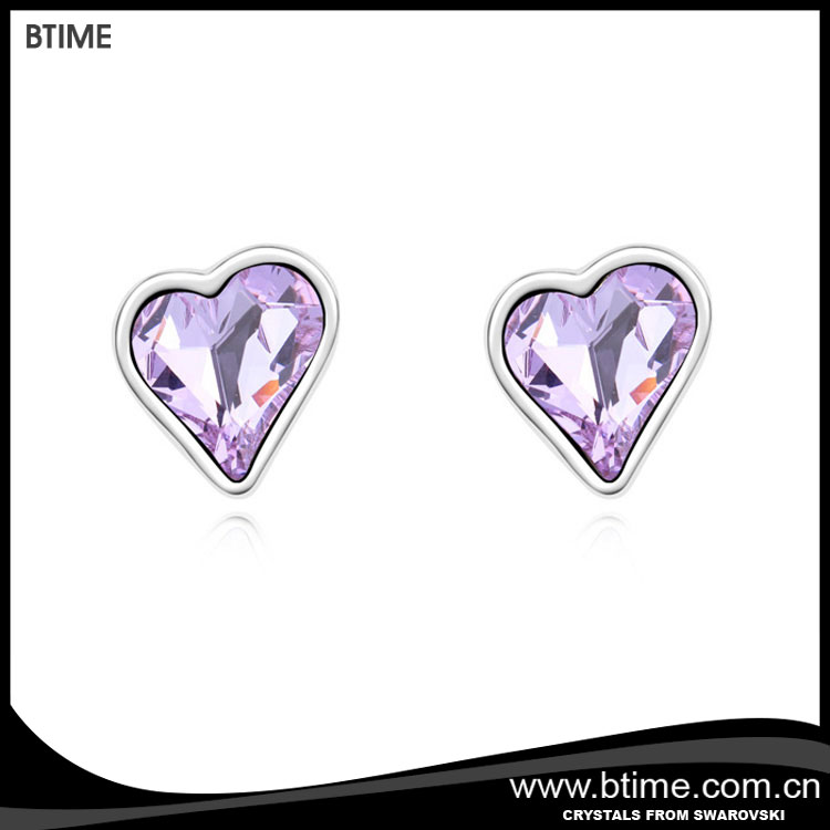 Simple design sweet heart stud earrings crystals from swarovski