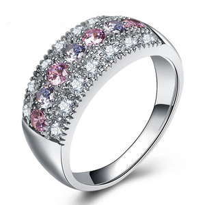 China Jewelry Wholesale Cubic Zircon 316L Stainless Steel Diamond Wedding Ring for Women