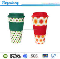 FDA Standard plastic double wall Coffee cup with silicone grip, Insulated travel mug