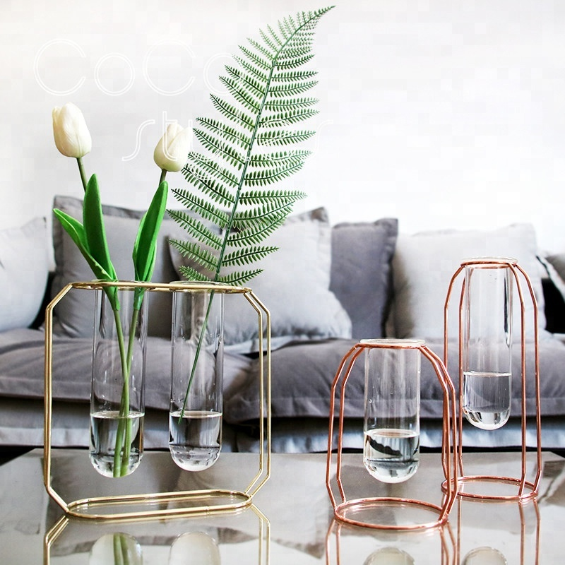 Cocostyles art style modern unique vase metal flower implement for nordic style home hotel wedding <strong>decoration</strong> pieces