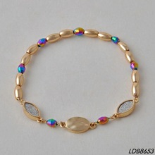 Colorful beads stretch gold bracelet fashion handmade jewelry bijuterias atacado