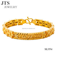 2016 Trendy Women Watch Chain Bracelets Bangles I LOVE U Copper Brass Material 24K Yellow Gold Plated Jewelry SL954