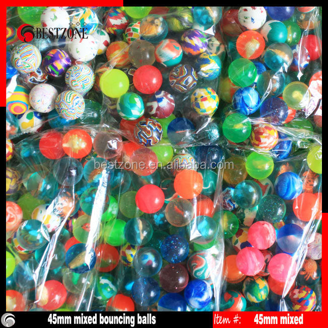 45mm mixed colorful bouncy ball /bouncing ball
