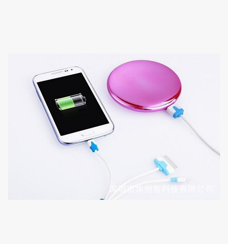 portable mirror 4000mAh smartphone power bank charger