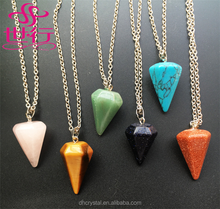 wholesale geometric nature stone triangle natural crystal stone pendant
