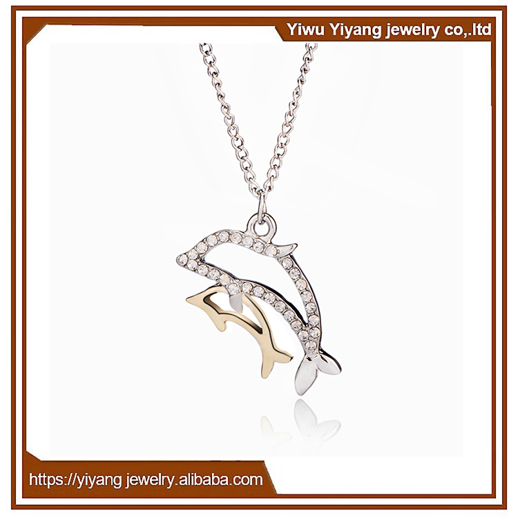 Manufacturer Supply Perfume Dolphin Jewelry Silver pendant Neckalce